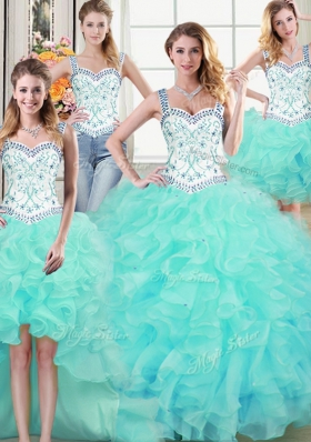 Four Piece Straps Straps Floor Length Lace Up 15th Birthday Dress Aqua Blue and In for Military Ball and Sweet 16 and Quinceanera with Beading and Lace and Ruffles