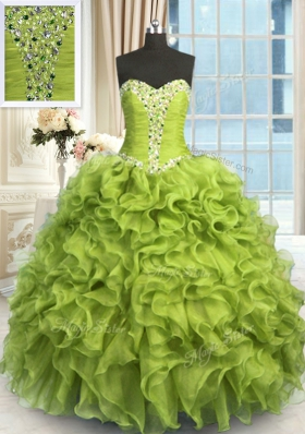 Fitting Yellow Green Sleeveless Organza Lace Up Sweet 16 Dresses for Military Ball and Sweet 16 and Quinceanera