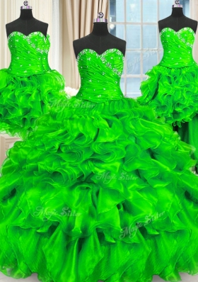 Latest Four Piece Sleeveless Organza Floor Length Lace Up Quince Ball Gowns in for with Beading and Ruffles and Ruching