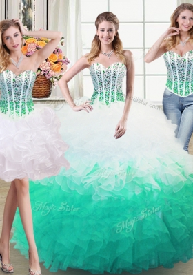 Three Piece Organza Sweetheart Sleeveless Lace Up Beading and Ruffles Ball Gown Prom Dress in White and Green