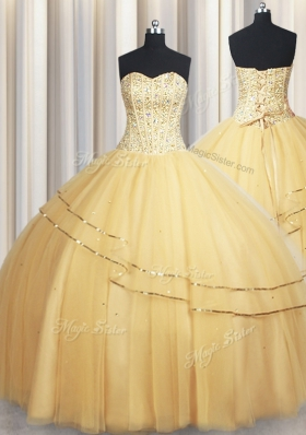 Ideal Visible Boning Big Puffy Champagne Sweetheart Neckline Beading and Ruching Quinceanera Gown Sleeveless Lace Up