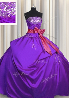 Bowknot Strapless Sleeveless Lace Up Sweet 16 Dress Purple Taffeta