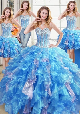 Four Piece Sequins Baby Blue Sleeveless Organza Lace Up Quinceanera Dress for Military Ball and Sweet 16 and Quinceanera