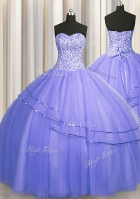 Hot Selling Visible Boning Puffy Skirt Purple Sleeveless Tulle Lace Up Quinceanera Gown for Military Ball and Sweet 16 and Quinceanera