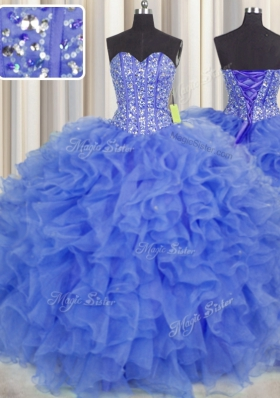Smart Visible Boning Blue Sweetheart Neckline Beading and Ruffles and Sashes|ribbons Sweet 16 Dress Sleeveless Lace Up