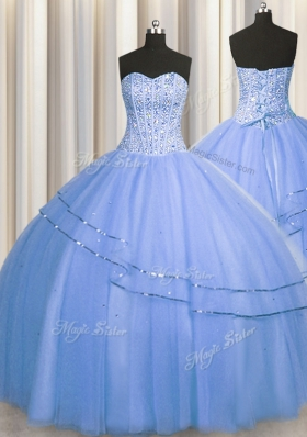 Visible Boning Big Puffy Blue Lace Up Sweetheart Beading Sweet 16 Dresses Tulle Sleeveless
