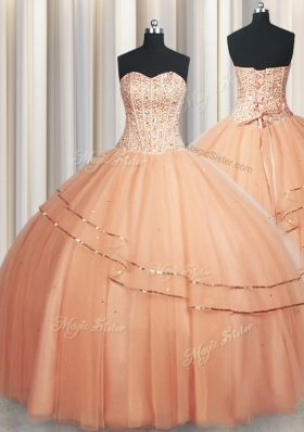 Visible Boning Really Puffy Peach 15th Birthday Dress Military Ball and Sweet 16 and Quinceanera and For with Beading and Ruching Sweetheart Sleeveless Lace Up