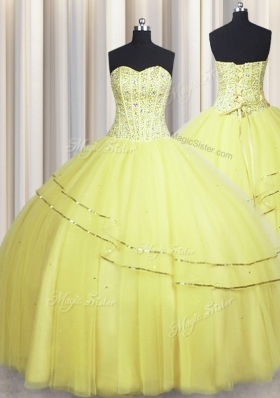 Visible Boning Really Puffy Sweetheart Sleeveless Lace Up Quinceanera Dress Light Yellow Tulle