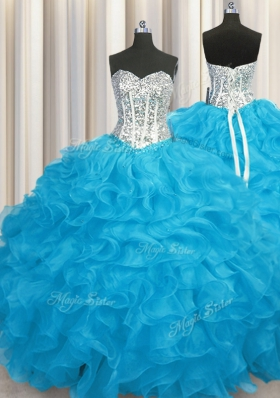 Aqua Blue Sweetheart Neckline Beading and Ruffles 15th Birthday Dress Long Sleeves Lace Up