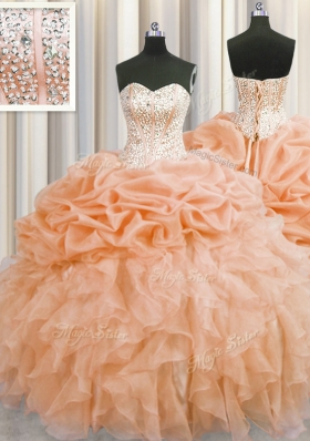 Fabulous Visible Boning Orange Lace Up Sweetheart Beading and Ruffles Quinceanera Dresses Organza Sleeveless
