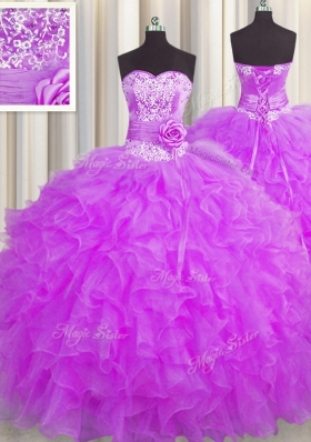 Handcrafted Flower Floor Length Purple 15 Quinceanera Dress Sweetheart Sleeveless Lace Up