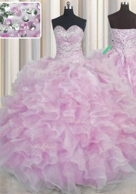 Sophisticated Bling-bling Lilac Organza Lace Up Sweetheart Sleeveless Floor Length Quinceanera Dresses Beading and Ruffles