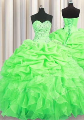 Superior Ball Gowns Beading and Ruffles and Pick Ups Sweet 16 Quinceanera Dress Lace Up Organza Sleeveless Floor Length