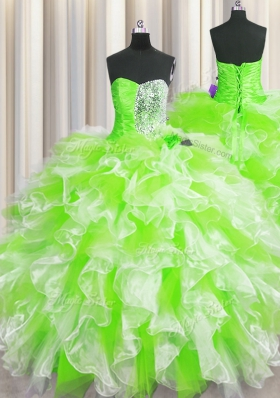Beautiful Multi-color Ball Gowns Beading and Ruffles Quinceanera Dress Lace Up Organza Sleeveless Floor Length