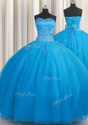 Big Puffy Blue Tulle Lace Up Sweetheart Sleeveless Floor Length Vestidos de Quinceanera Beading