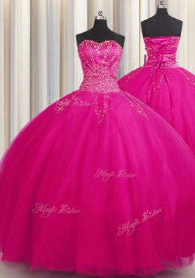 Big Puffy Fuchsia Ball Gowns Tulle Sweetheart Sleeveless Beading Floor Length Lace Up 15 Quinceanera Dress