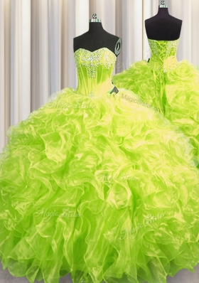 Chic Brush Train Ball Gowns Sweet 16 Dress Yellow Green Sweetheart Organza Long Sleeves Lace Up