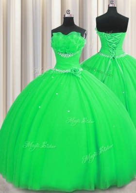 Glorious Handcrafted Flower Sleeveless Floor Length Beading and Sequins and Hand Made Flower Lace Up 15 Quinceanera Dress with Green