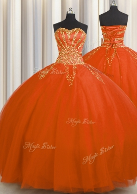Low Price Really Puffy Floor Length Lace Up Sweet 16 Quinceanera Dress Red and In for Military Ball and Sweet 16 and Quinceanera with Beading