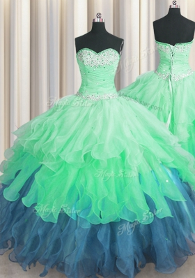 Multi-color Lace Up Sweet 16 Dresses Beading and Ruffles and Ruffled Layers and Sequins Sleeveless Floor Length