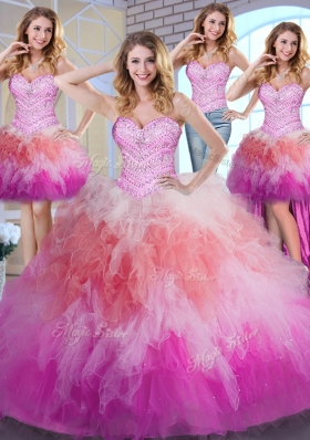 Custom Design Four Piece Ball Gowns Sweet 16 Dresses Multi-color Sweetheart Tulle Sleeveless Floor Length Lace Up