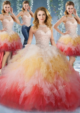 Decent Four Piece Multi-color Sweet 16 Quinceanera Dress Military Ball and Sweet 16 and Quinceanera and For with Beading and Ruffles Halter Top Sleeveless Lace Up