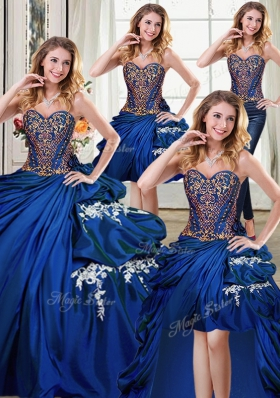 Deluxe Four Piece Sleeveless Beading and Appliques and Pick Ups Lace Up Sweet 16 Dresses