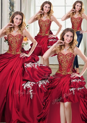 Designer Four Piece Beading and Appliques and Pick Ups Quinceanera Gowns Wine Red Lace Up Sleeveless Floor Length