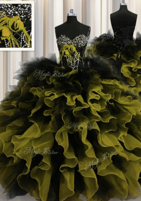 Floor Length Lace Up Quinceanera Dress Multi-color and In for Military Ball and Sweet 16 and Quinceanera with Beading and Ruffles