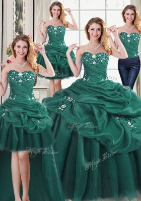 Glorious Four Piece Sleeveless Beading and Ruffles and Pick Ups Lace Up Sweet 16 Dresses
