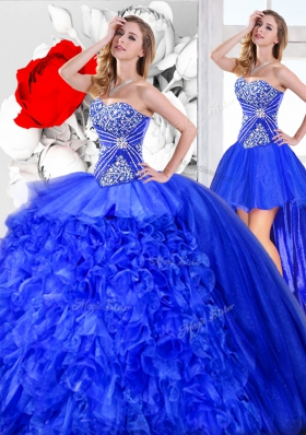 Latest Three Piece Blue Sleeveless Beading and Ruffles Floor Length Quinceanera Gowns
