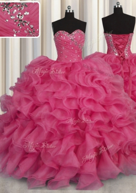 Lovely Hot Pink Lace Up Quinceanera Gown Beading and Ruffles Sleeveless Floor Length