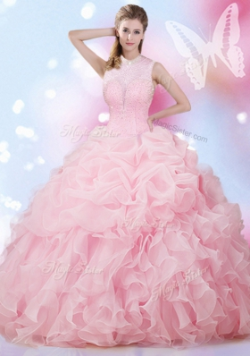 New Arrival Baby Pink Ball Gowns Organza High-neck Sleeveless Beading and Ruffles and Pick Ups Floor Length Lace Up Sweet 16 Dress