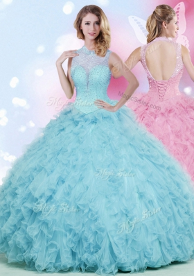 Sleeveless Tulle Floor Length Lace Up Quinceanera Dress in Baby Blue for with Beading and Ruffles