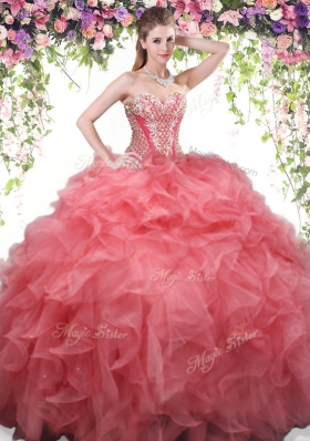 Sophisticated Coral Red Organza Lace Up Sweetheart Sleeveless Floor Length Vestidos de Quinceanera Beading and Ruffles