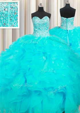 Visible Boning Beaded Bodice Sweetheart Sleeveless Quince Ball Gowns Floor Length Beading and Ruffles Aqua Blue Organza