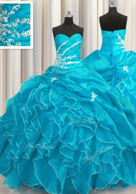Beading and Appliques and Ruffles Quinceanera Gowns Aqua Blue Lace Up Sleeveless Floor Length