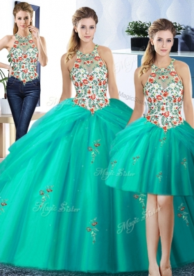 Colorful Three Piece Pick Ups Halter Top Sleeveless Lace Up Vestidos de Quinceanera Turquoise Tulle