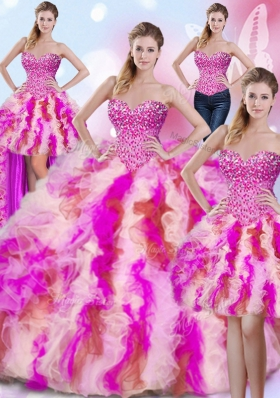 Enchanting Four Piece Sweetheart Sleeveless Tulle Sweet 16 Dress Beading and Ruffles Lace Up