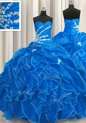 Latest Blue Sleeveless Organza Lace Up Sweet 16 Dress for Military Ball and Sweet 16 and Quinceanera