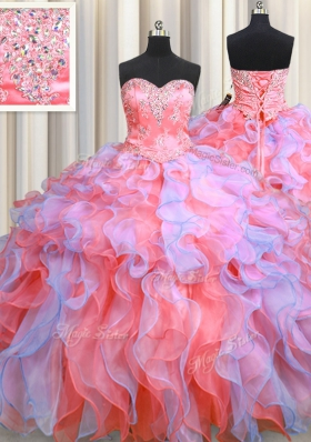 Organza Sweetheart Sleeveless Lace Up Beading and Appliques and Ruffles Sweet 16 Dresses in Multi-color