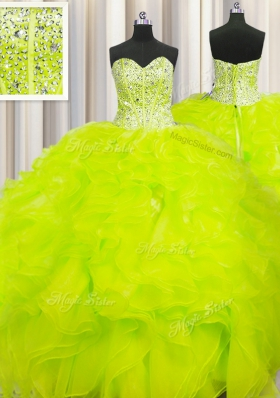 Smart Visible Boning Beaded Bodice Yellow Organza Lace Up Sweetheart Sleeveless Floor Length Quinceanera Dresses Beading and Ruffles