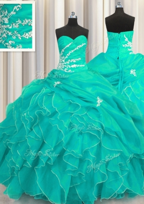 Sophisticated Sleeveless Floor Length Beading and Appliques and Ruffles Lace Up Sweet 16 Quinceanera Dress with Turquoise