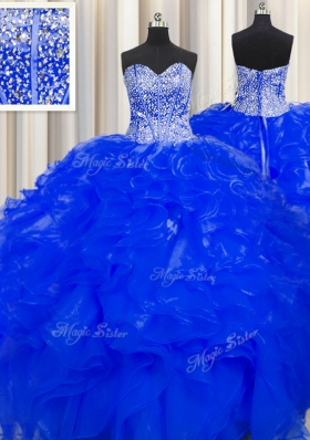 Visible Boning Beaded Bodice Floor Length Royal Blue 15th Birthday Dress Organza Sleeveless Beading and Ruffles