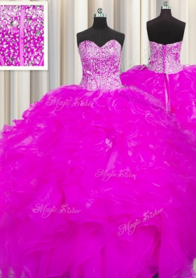 Visible Boning Beaded Bodice Fuchsia Lace Up Sweetheart Beading and Ruffles Quinceanera Dresses Organza Sleeveless