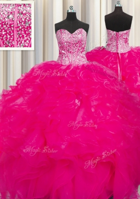 Visible Boning Beaded Bodice Hot Pink Ball Gowns Sweetheart Sleeveless Organza Floor Length Lace Up Beading and Ruffles Quinceanera Dress