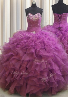 Beaded Bust Floor Length Ball Gowns Sleeveless Fuchsia Sweet 16 Dress Lace Up