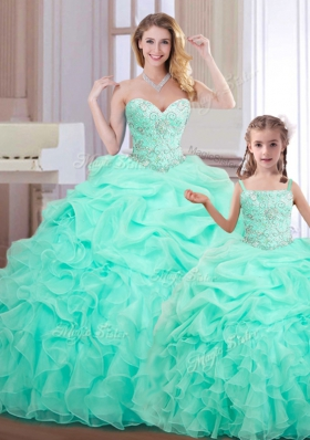Beading and Ruffles and Pick Ups Quinceanera Dresses Apple Green Lace Up Sleeveless Floor Length