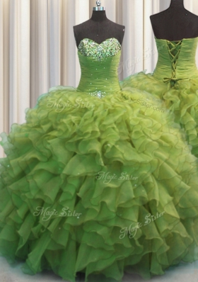 Exceptional Beaded Bust Olive Green Sleeveless Beading and Ruffles Floor Length Vestidos de Quinceanera