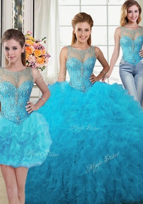Fashion Three Piece Baby Blue Ball Gowns Scoop Sleeveless Tulle Floor Length Lace Up Beading and Ruffles Sweet 16 Dresses